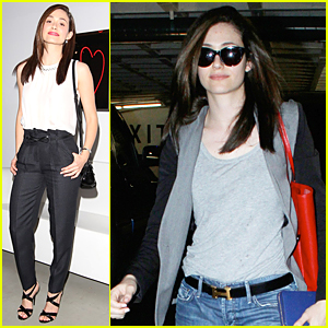 Emmy Rossum Stops By An 'I Love You' Art Exhibit Before Valentine's Day