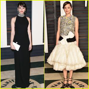 Felicity Jones & Marion Cotillard Switch Up Their Looks for Vanity Fair's Oscar Party 2015!
