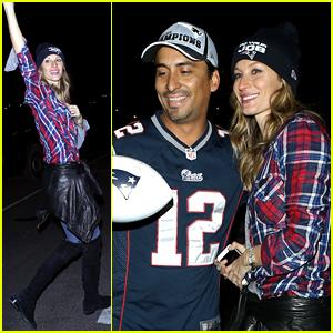 Gisele Bundchen Celebrates with Patriots Fans After Super Bowl!