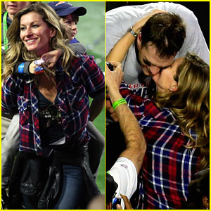 Gisele Bundchen Joins Tom Brady on Field After Super Bowl Win!