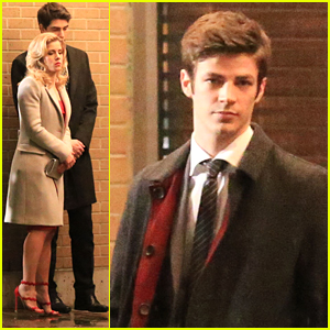 Emily Bett Rickards & Grant Gustin Get Fancy For 'The Flash' Night Shoots