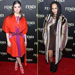 Hailee Steinfeld & Zoe Kravitz Hit Up Fendi Flagship Store Opening During Fashion Week