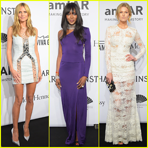 Heidi Klum, Naomi Campbell, & Toni Garrn Get Glam for amfAR Gala 2015