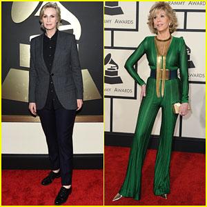 Jane Lynch & Jane Fonda Stop By the Grammys 2015