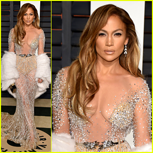 Jennifer Lopez Stuns in Sheer Dress at Oscars After Party 2015