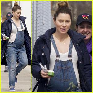 Jessica Biel Dresses Baby Bump in Dirty Denim Overalls