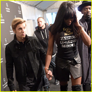 Justin Bieber Holds Hands with Naomi Campbell Backstage at Her Fashion For Relief Charity Runway Show