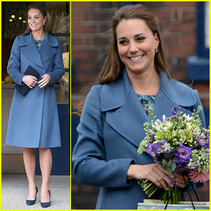 Kate Middleton Covers Baby Bump in Royal Blue Peacoat