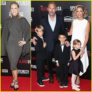 Kevin Costner & Wife Christine Baumgartner Bring Family to 'McFarland USA' Hollywood Premiere!