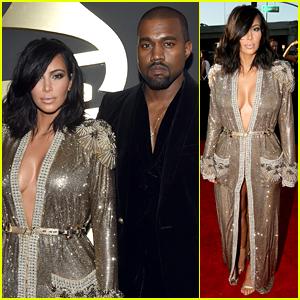 Kim Kardashian & Kanye West Look So Hot at Grammys 2015