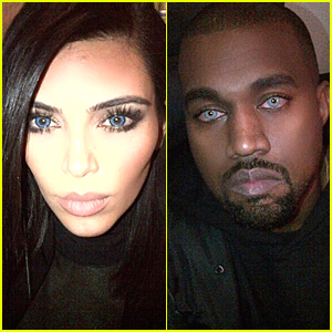 Kim Kardashian & Kanye West Look Wolf-Like in Matching Blue Contact Lenses