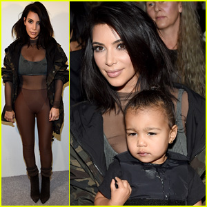 Kim Kardashian & North Support Kanye West at Adidas Yeezy Runway Fashion Show