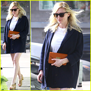Kirsten Dunst's Very Short Skirt Is Completely Covered By Her Cardigan