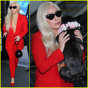 Lady Gaga Goes Braless Under a Blazer While Flying Out of LAX
