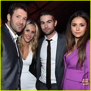 Nina Dobrev & Chace Crawford Buddy Up with Tony Romo at DirecTV's Super Bowl 2015 Party