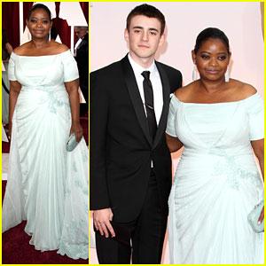 Octavia Spencer Brings Along Charlie Rowe for Oscars 2015