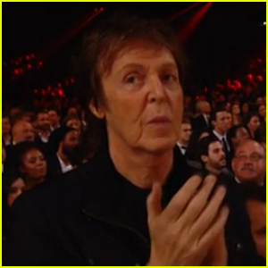 Paul McCartney Gets Embarrassed By Camera at Grammys 2015 (Video)