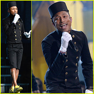 Pharrell Williams Wins Three Grammys & Performs 'Happy' (Video)