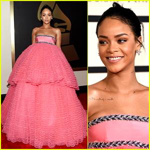 Rihanna Is a Pink Princess on Grammys 2015 Red Carpet