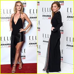 Rosie Huntington-Whiteley & Lindsay Lohan Wear Classic Black at Elle Style Awards 2015