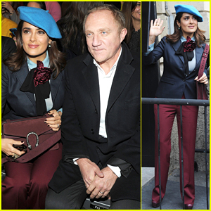 Salma Hayek Sits Front Row at Gucci Fashion Show with Hubby Francois-Henri Pinault!
