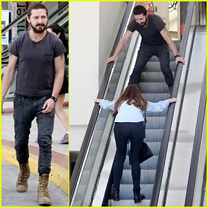 Shia LaBeouf & Mia Goth Horse Around on an Escalator