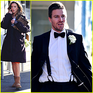 Stephen Amell & Colton Haynes Suit Up For 'Arrow' Wedding Scene Filming