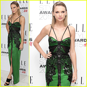 Taylor Swift Rocks Sleek Green Look to Elle Style Awards 2015