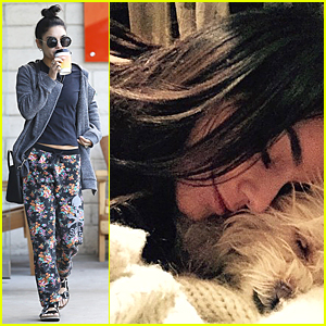 Vanessa Hudgens Cuddles In Bed With Sleeping Pet Pooch