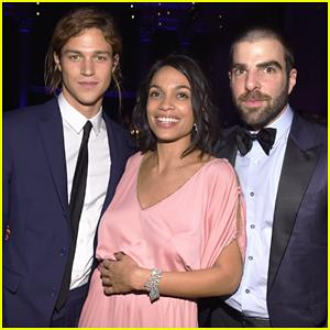 Zachary Quinto & Boyfriend Miles McMillan Help Honor Rosario Dawson at amfAR Gala 2015!
