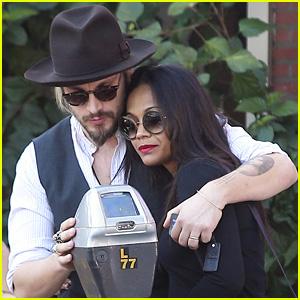 Zoe Saldana & Marco Perego Are a Cuddly Lunch Couple