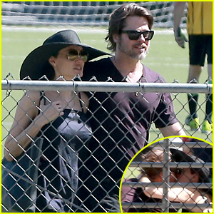 Angelina Jolie & Brad Pitt Share a Kiss at Shiloh & Zahara's Soccer Game