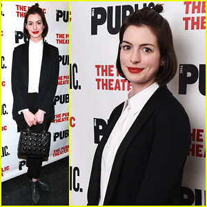 Anne Hathaway Steps Out to Celebrate The Public Theater's Opening Night of 'Josephine & I'!