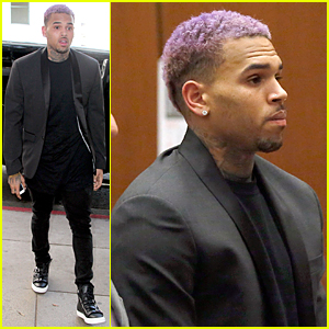 Chris Brown Sports Purple Hair For Probation Ending Court Appearance
