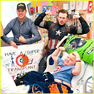 Chris Evans Suits Up As Captain America to Visit Seattle Children's Hospital with Chris Pratt