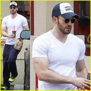 Chris Evans' Muscles Are On Display in His Tight White Tee!