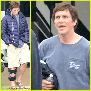 Christian Bale Rocks Knee Brace on 'The Big Short' Set