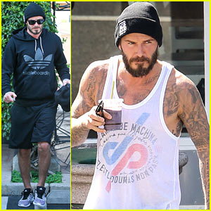 David Beckham Shows Off His Tattooed Arms in a Tank Top