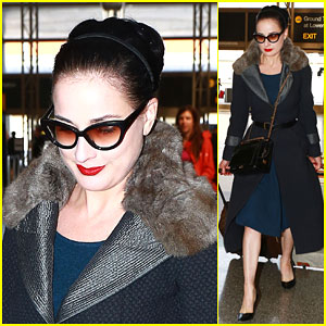 Dita Von Teese Jets Out of Los Angeles in Style