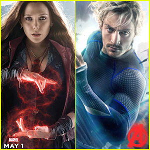 Elizabeth Olsen & Aaron Taylor-Johnson Show Off Powers As Quicksilver and Scarlet Witch In 'Avengers: Age of Ultron' Posters