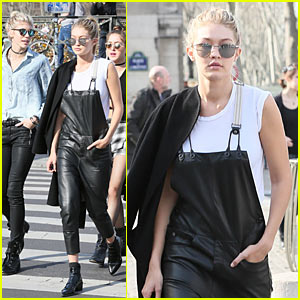 Gigi Hadid is Overalls Chic During Louvre Visit with Model Pal Devon Windsor