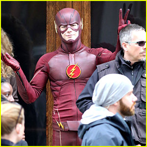 Grant Gustin Gives Out Bunny Ears on 'The Flash' Set!