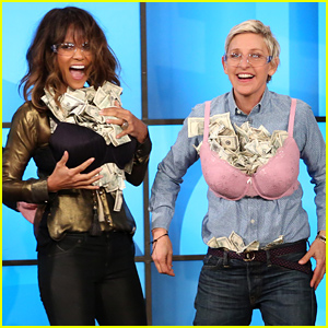 Halle Berry & Ellen DeGeneres Stuff Their Bras Full of Money
