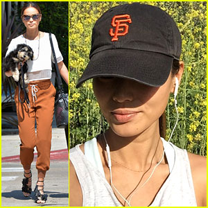 Jamie Chung & Pup Ewok Pick Up Lunch From Le Pain Quotidien