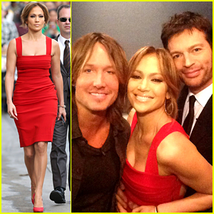Jennifer Lopez Is Red Hot with Her 'Idol' Men for 'Kimmel' Taping