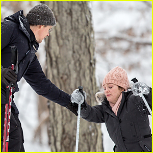 Julianne Moore Falls In the Snow & Gets Helped Up By Ethan Hawke