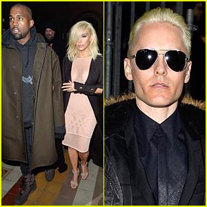 Kim Kardashian & Jared Leto's Platinum Blonde Hair Get All the Attention at Lanvin Show