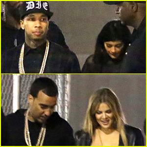 Kylie Jenner & Khloe Kardashian Double Date at Tyga's Concert