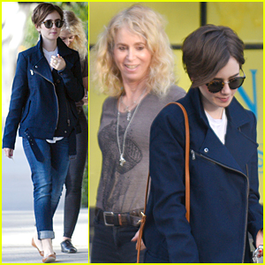 Lily Collins Catches Up With Mom After Chris Evans Weekend Date