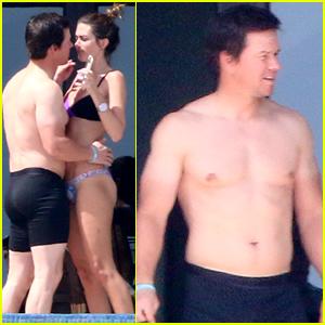 Mark Wahlberg Flaunts Poolside PDA with Wife Rhea Durham